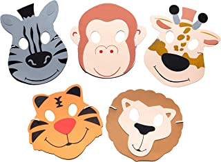 24 Assorted Foam Zoo Animal Masks - Flexible Elastics For A Comfortable Fit - Fun Addition to Safari Party Supplies & Jungle Theme Birthday Party Favors - Features Lion, Monkey, Tiger, Giraffe & Zebra