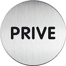 """Durable 491268 Zelfklevende pictogram rond met tekst """"PRIVÉ"""", metaalzilver, heeft een diameter van 83 mm"""
