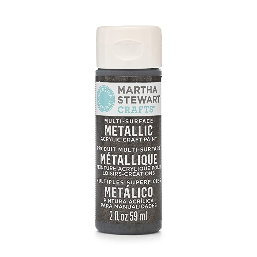 Martha Stewart Crafts Multi-Surface Metallic Acrylic Craft Paint in Assorted Colors (2-Ounce), 32989 Black Nickel