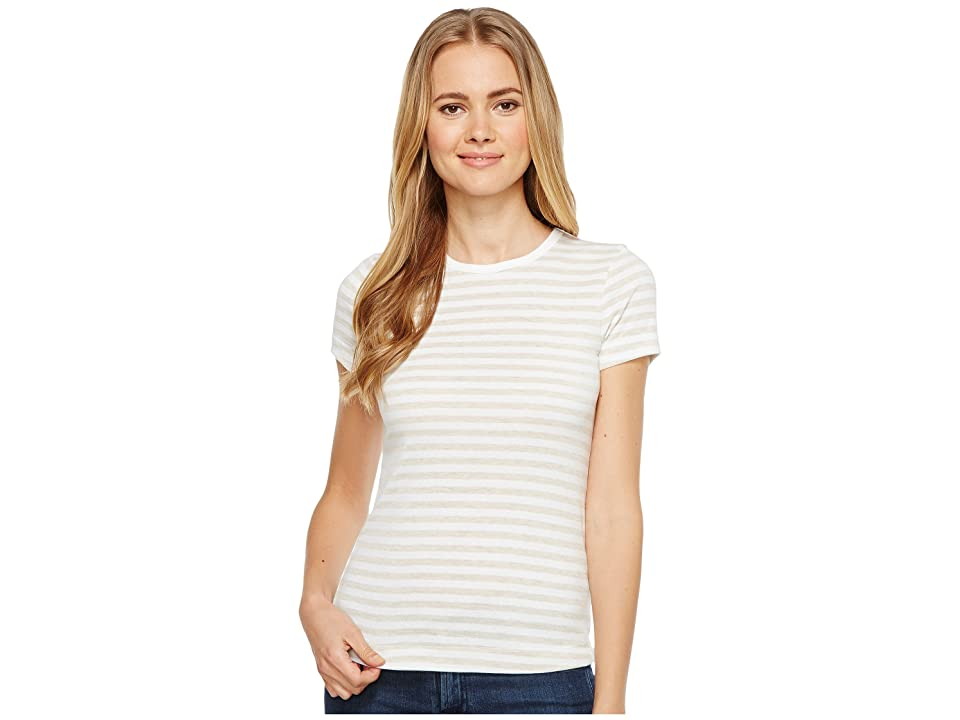 Three Dots Stripe Kennedy Crew Neck (Oatmeal/White) Women