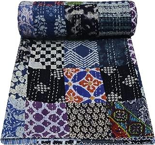 V Vedant Designs Indian Handmade Twin Cotton Patchwork Kantha Quilt Bedspread
