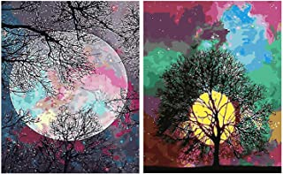 Aodaer 2 Pack DIY Paint by Numbers Kits Bright Moon Pre-Printed Canvas Painting for Adults Beginner Arts Craft, 16 x 20 Inch