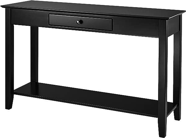 Muse Home 木质控制台桌子,带抽屉和搁板,深色桃花心木