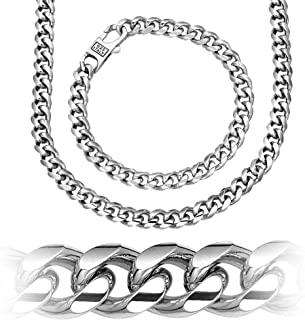 Miami Cuban Link .925 Sterling Silver Solid Heavy Chain Secure LinxLock Design, Platinum Plated, 7.5mm, Made in Italy