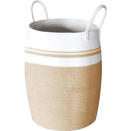 SWAWIS Panier à Linge en Corde de Coton 105L, Panier de rangement tressé en corde de coton avec Poignée, Osier Panier à Linge de Tressé Pliable pour salon, salle de bain, Blanc et Marron, 65 x 49 cm