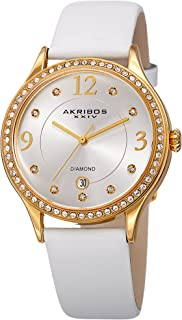 Akribos XXIV Women's Quartz Diamond & Swarovski Crystal Leather Strap Watch - AK1011WT (White)