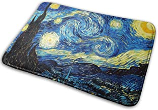 Starry Night Flannel Bath Mat with Non Slip Rubber,Water Absorbent Washable Bathroom Rugs Carpet for Tub Shower Bedroom Fl...