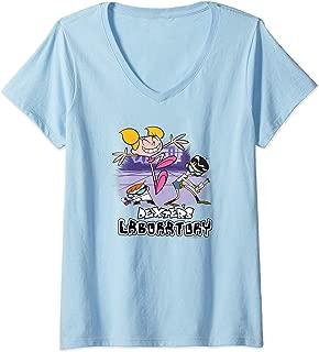 Womens Dexter's Laboratory Dee Dee Cutting In V-Neck T-Shirt