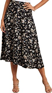 Floral Printed Flared Midi Skirt with Back Zip Closure 80249501 For Women Closet by Styli