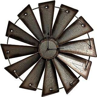 Gianna's Home Rustic Farmhouse Metal Windmill Wall Clock (18.5