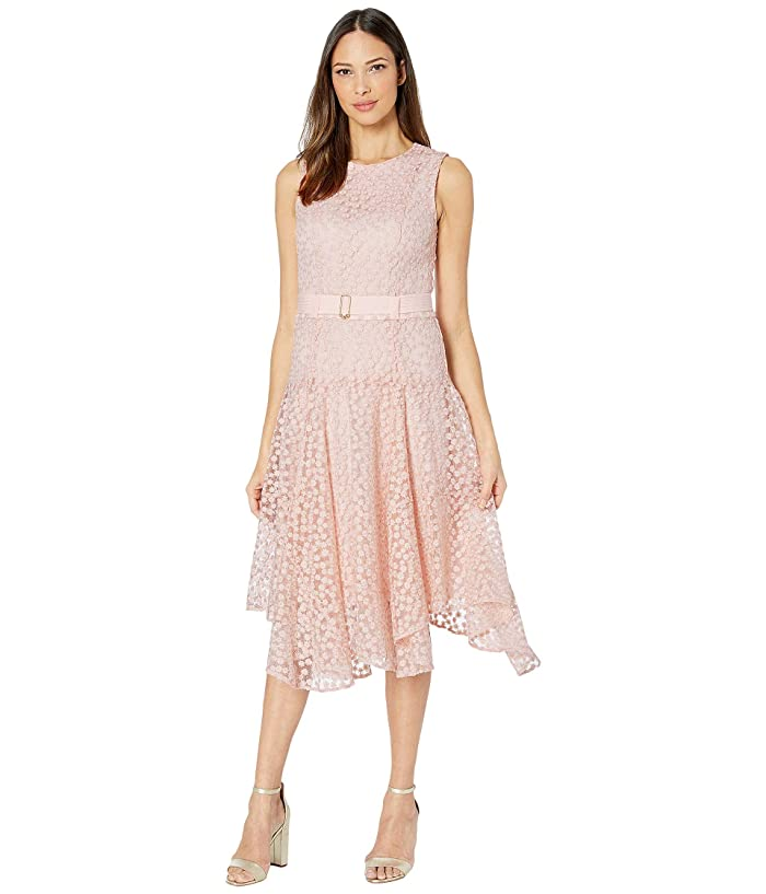 1920s Day Dresses, Tea Dresses, Mature Dresses with Sleeves Calvin Klein Floral Embroidered Handkerchief Dress Blush Womens Dress $149.50 AT vintagedancer.com