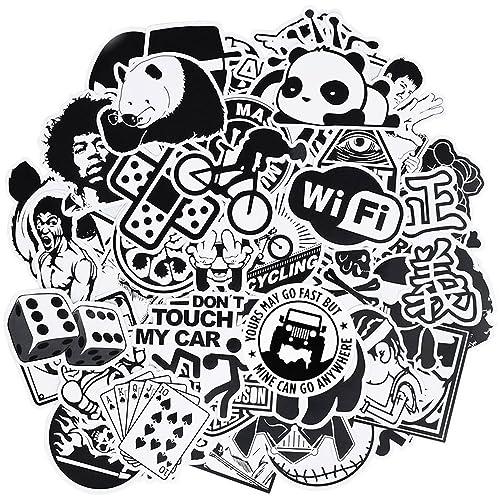 QTL Waterproof Vinyl Stickers for Laptops Skateboard Bumper Bike Car Decals (100Pcs Black and White Stlye)