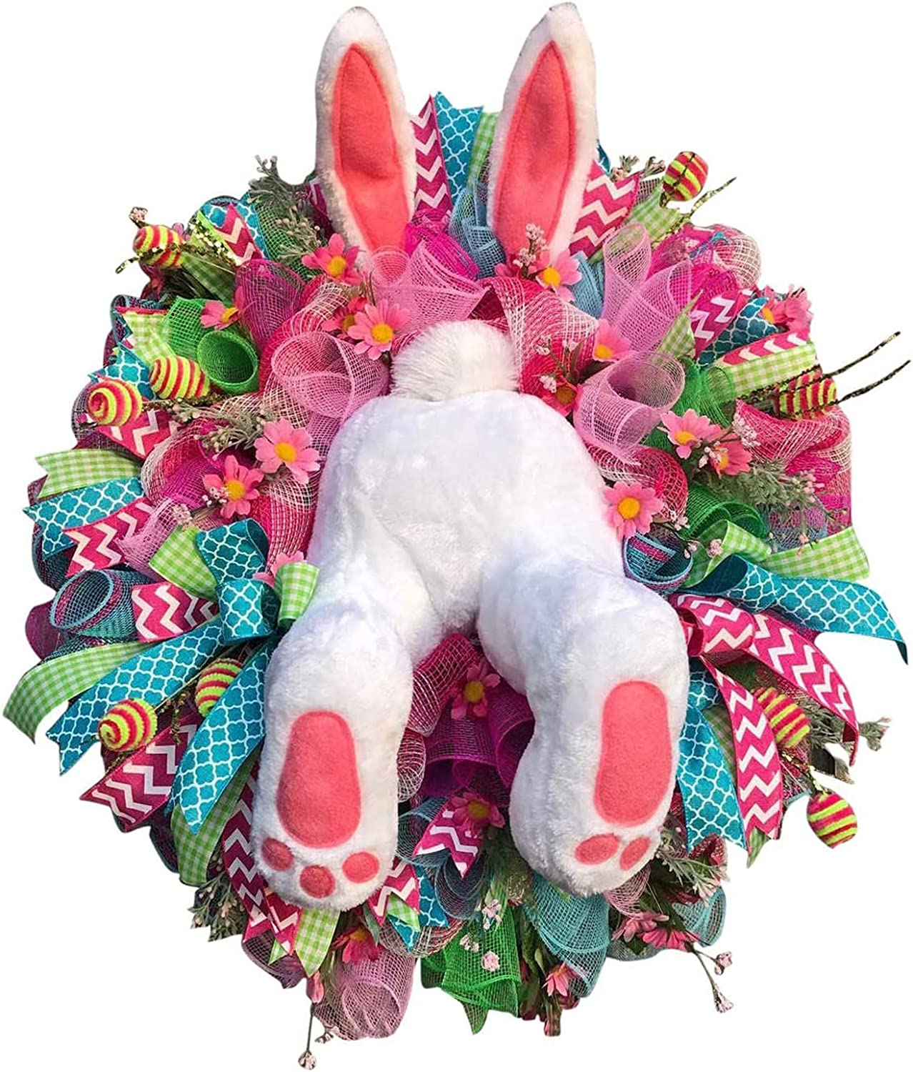 Floralby Easter Rabbit Wreath Decor for Front Door Easter Thief Bunny Butt with Ears Rabbit Shape Garland Wall Decor Easter Decorations Easter Rabbit Front Door Wreath