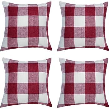 Aneco 4 Pack 18 × 18 Inch Pillow Cover Buffalo Plaid Red White Check Plaid Cushion Classic Tartan Linen Pillow Cover Sofa Bedroom Car