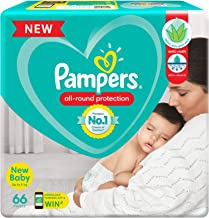 Pampers All round Protection Pants, New Born, Extra Small size baby diapers (NB/XS), 66 Count, Anti Rash diapers, Lotion w...