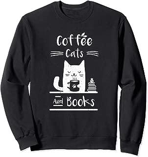 cat reading book sweatshirt