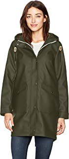 Hooded Rubberized Faux Leather Anorak Jacket