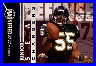 1997 Score Board Playbook By The Numbers Magnified Silver #DF8 Junior Seau HOF SAN DIEGO CHARGERS SERIAL #787/2000 Measures 3X4 inches
