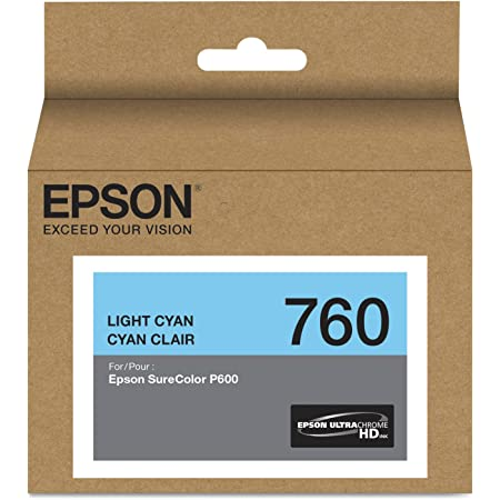 Epson T760520 (760) UltraChrome HD Ink (Light Cyan) in Retail Packing