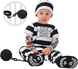Spooktacular Creations Lovely Baby Prisoner Convict Costume Infant Deluxe Set for Halloween Jail Dress Up Party
