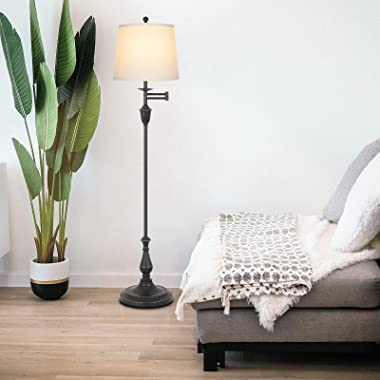 Hykolity Traditional Swing Arm Floor Lamp, Classic Lamp with Extending Arm, Soft Oatmeal Lamp Shade, Tall Floor Lamp for Livi