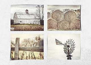 "Farmhouse Decor Wall Art Set of 4 5x7"" Fine Art Prints (Not Framed). Country Rustic Landscape Photographs. Barn Fence Hay Windmill. Beige, Tan, White. (FBA45)"
