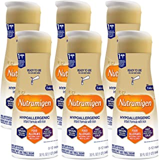 Enfamil Nutramigen Infant Formula, Hypoallergenic and Lactose Free Formula with Enflora LGG, Fast Relief from Severe Crying and Colic, DHA for Brain Support, Ready to Use Bottle, 32 Fl Oz (Pack of 6)