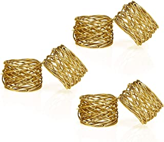 ITOS365 Handmade Gold Round Mesh Napkin Rings Holder for Dinning Table Parties Everyday, Set of 6
