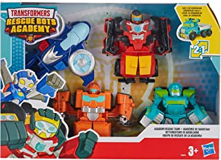 Playskool Heroes Transformers Rescue Bots Academy Academy Rescue Team Pack, 4 Collectible 4.5-inch Converting Action Figur...