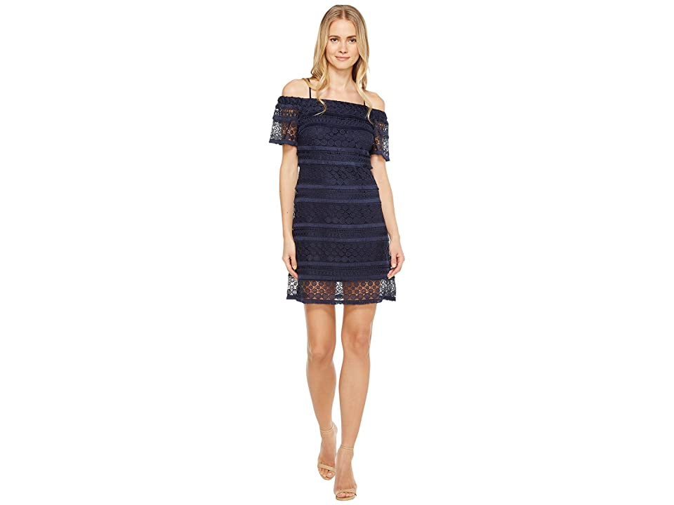 Tahari by ASL Off Shoulder Lace Shift Dress (Navy) Women