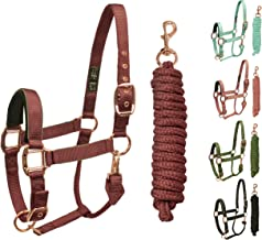 Derby Originals Rose Gold Reflective Safety Breakaway Horse Halters with Matching Lead