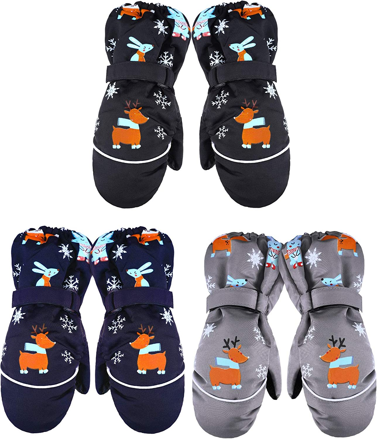 3 Pairs Kids Thick Snow Mittens Baby Toddler Waterproof Ski Gloves Winter Warm Gloves for Boys Girls : Sports & Outdoors