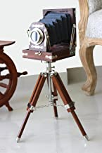 New Antique Vintage Look Film Camera Wooden Tripod Collectible Studio Gift Item Brown Color (22 Inches)