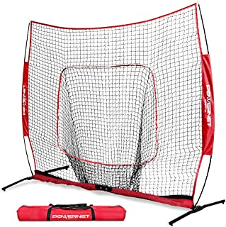 PowerNet 7x7 PRO Net with One Piece Frame   Baseball Softball Practice Net   Training Aid for Hitting Pitching Batting Fielding Portable Backstop   Bow Style Frame   Non-Tip Weighted Base Frame