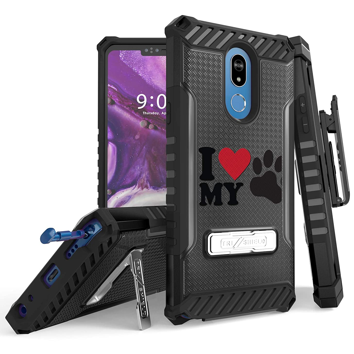 Trishield Series for Stylo 5 Case, Military Grade Rugged Cover + [Metal Kickstand]+[Belt Clip Holster] for LG Stylo 5 (2019)- LOVEMYDOG