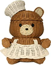 G6 COLLECTION Bear Rattan Storage Basket with Lid Decorative Bin Home Decor Hand Woven Shelf Organizer Cute Handmade Handc...