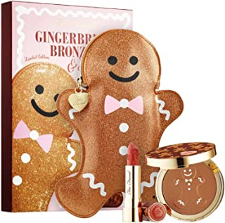 Too Faced Gingerbread Bronzer And Lipstick Kit! Gingerbread Tan Bronzer, Peach Kiss Matte Lipstick & Gingerbread Man Makeup Bag! Cruelty-Free, Gluten-Free And Paraben-Free!