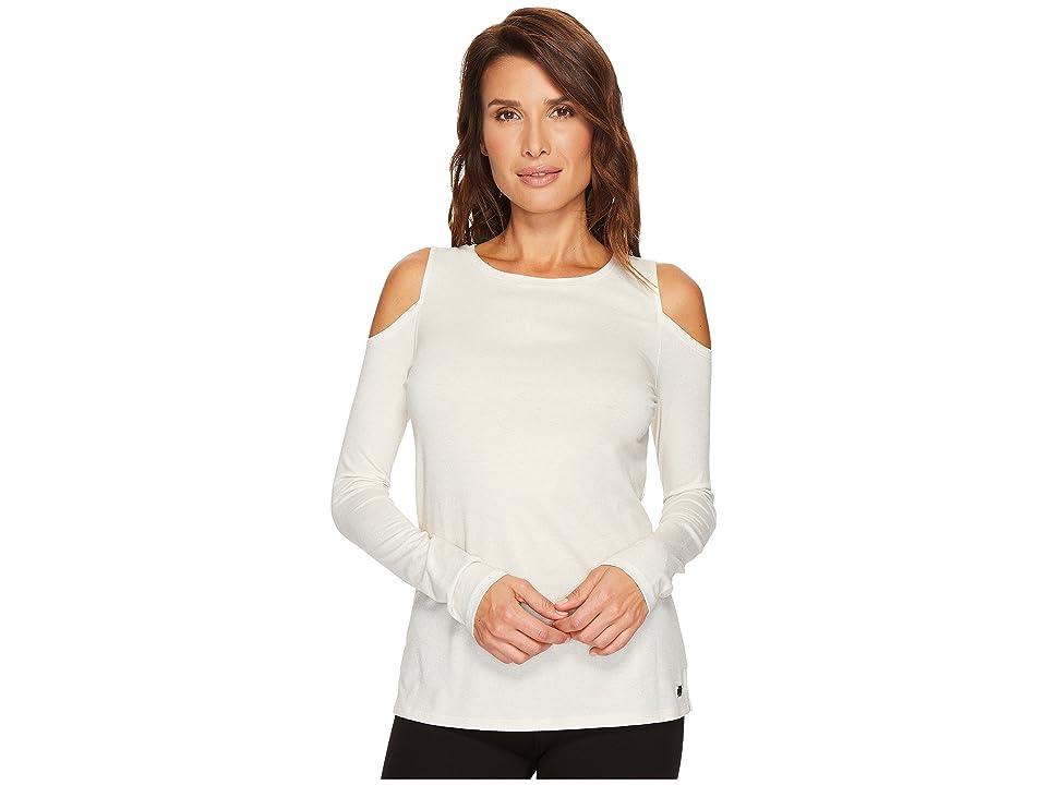 Ivanka Trump Knit Cold Shoulder Long Sleeve Metallic Shirt (Ivory) Women's Clothing, White