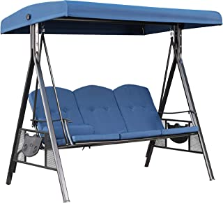 LOKATSE HOME 3 Person Patio Swing Outdoor Chair Set Porch Hammock Cushioned Bench Seats Furniture with Adjustable Canopy, Blue