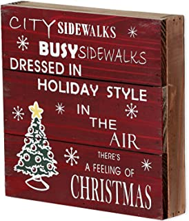 Rustic Christmas Sign Decor Wood Plaque Hanging Wall Art Sign, 8