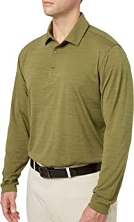 Walter Hagen Men's Long Sleeve Heather Golf Polo, (Black, Small)