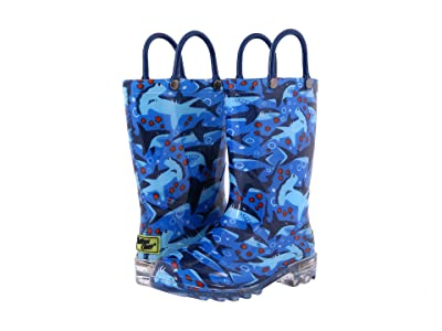 Western Chief Kids Lighted Rain Boots (Toddler/Little Kid) (Shark Chase) Boys Shoes