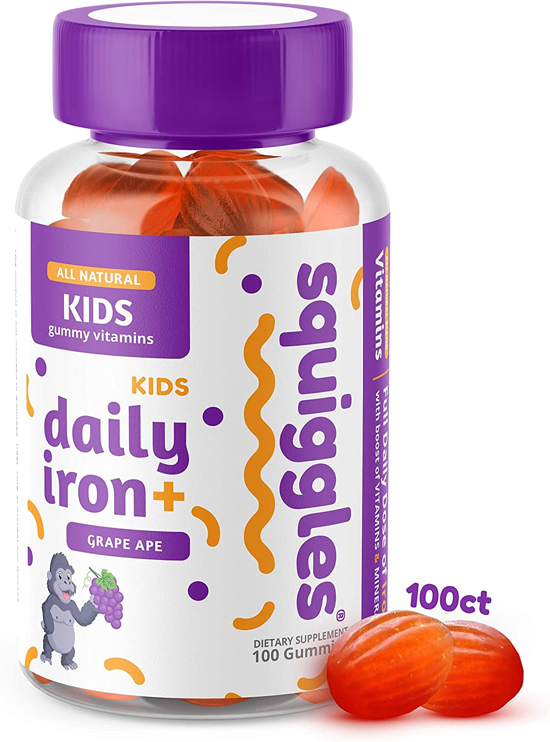 Kids Daily Iron+ Gummies Large discharge sale by Squiggles Cheap Low 100ct. All-Natural