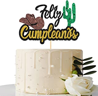 Black Glitter Feliz Cumpleaños Cake Topper - Spanish Happy Birthday Cake Topper - Adults / Teen's Birthday Party Decorations
