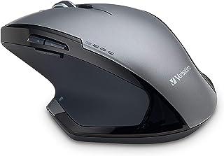 Verbatim Wireless Desktop 8-Button Deluxe Mouse - Ergonomic, Blue LED, Portable Mouse for Mac and Windows - Black (98622),...