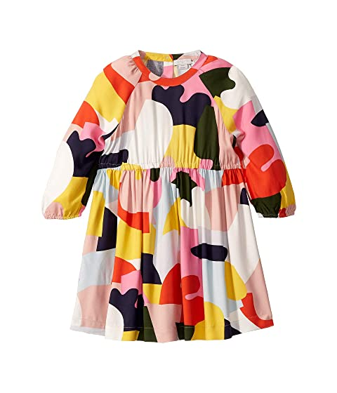 Stella McCartney Kids Long Sleeve Color Block Viscose Dress (Toddler/Little Kids/Big Kids)