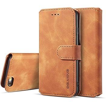 UEEBAI Wallet Case for iPhone 6 iPhone 6S Black Retro 9 Card Holder Slots Zipper Pocket Handbag Case PU Leather Magnetic Closure Kickstand with Wrist Strap TPU Shockproof folio Case