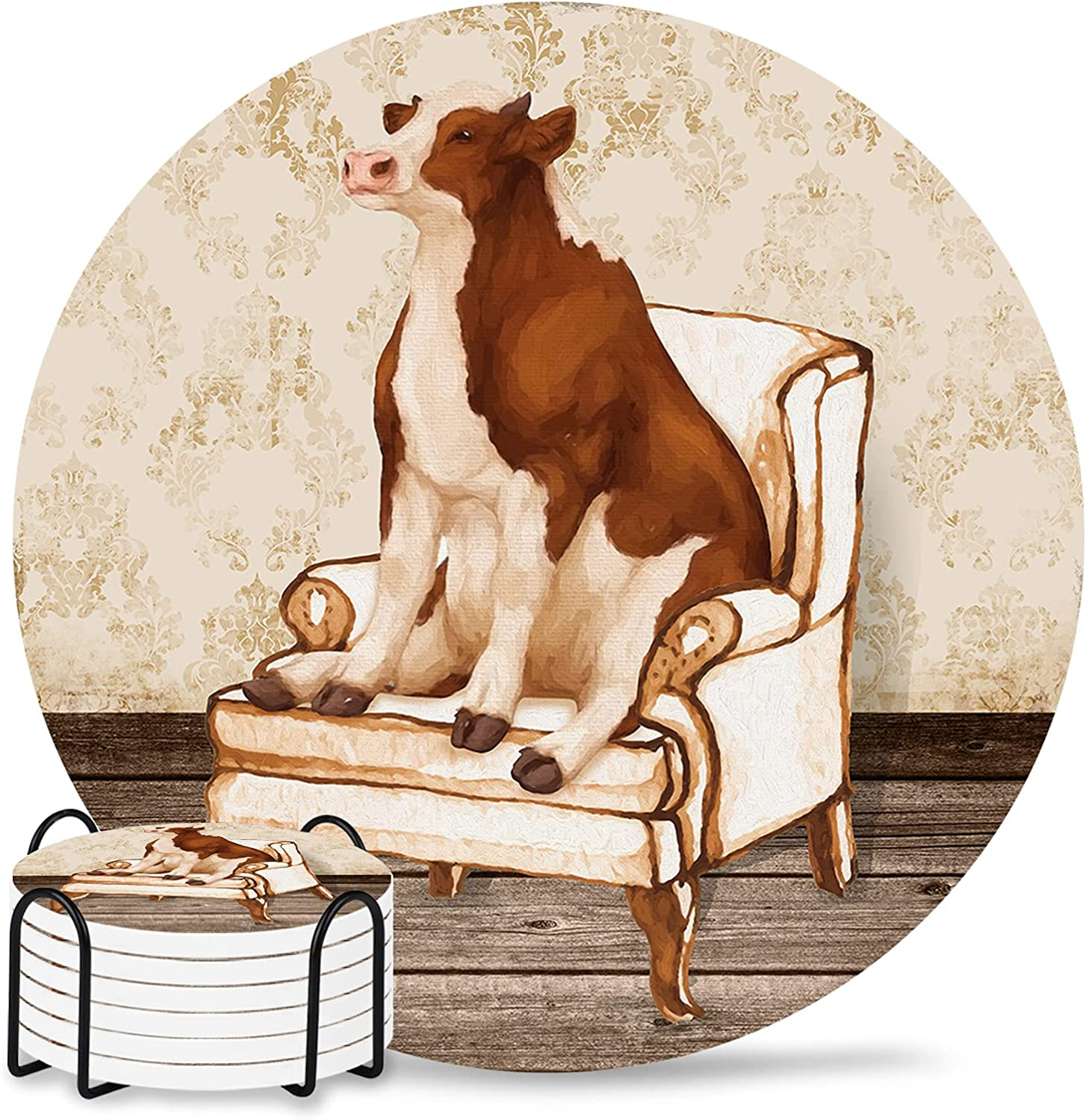 Animal Drink Coasters Complete Free Shipping Set of 6 Non 4 Water Fees free Absorbent Inch Slip