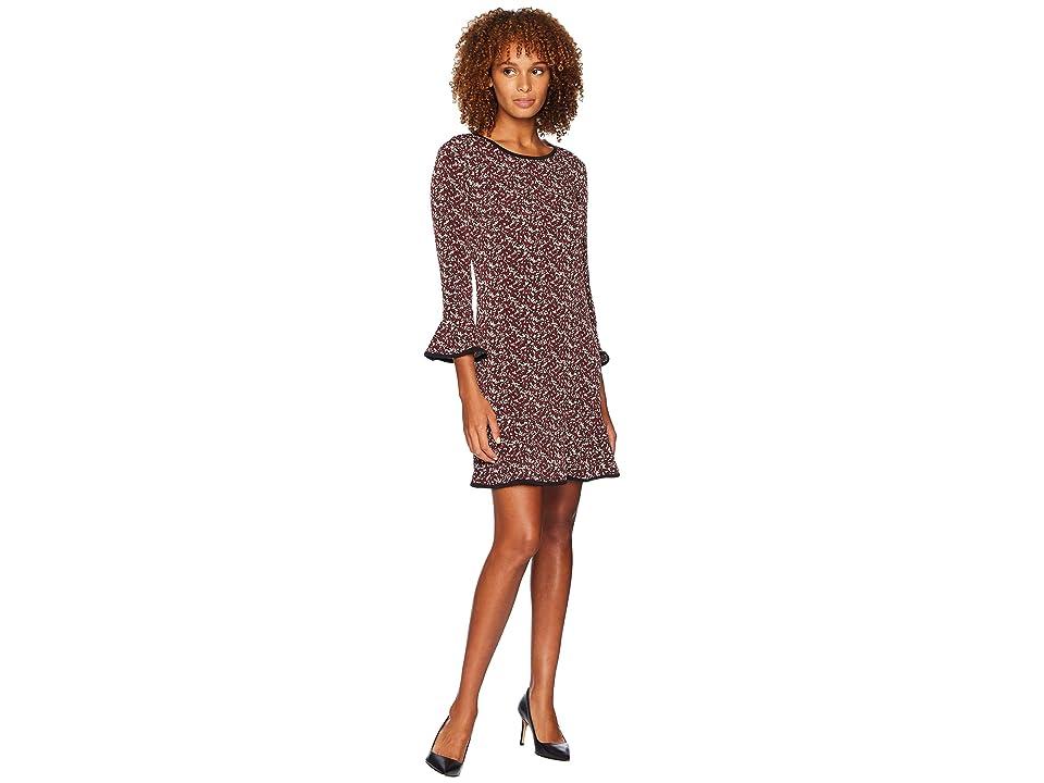 MICHAEL Michael Kors Glam Morris Flounce Dress (Black/Maroon) Women