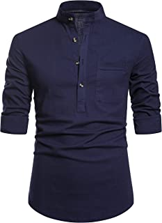 Best mens casual banded collar shirts Reviews